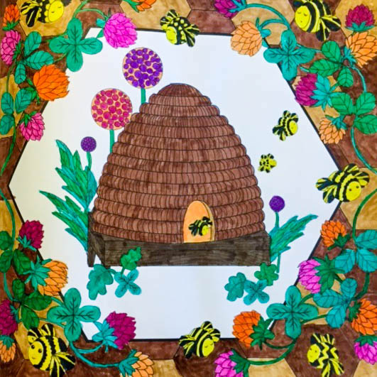 A beautifully colored picture of a beehive from the coloring book Amazing Grace.