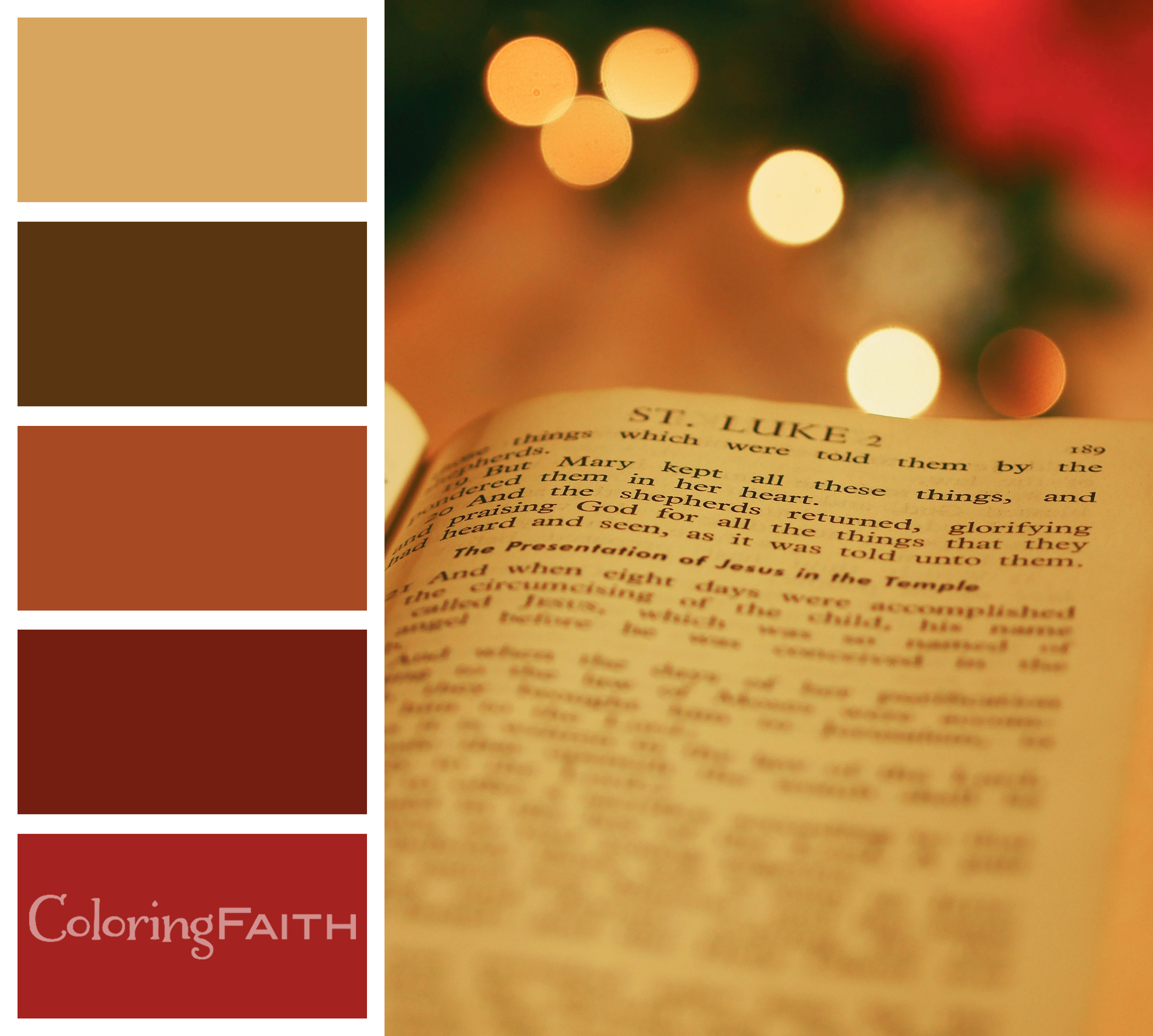 An adult coloring book Christmas color palette featuring a bible with Luke 2.