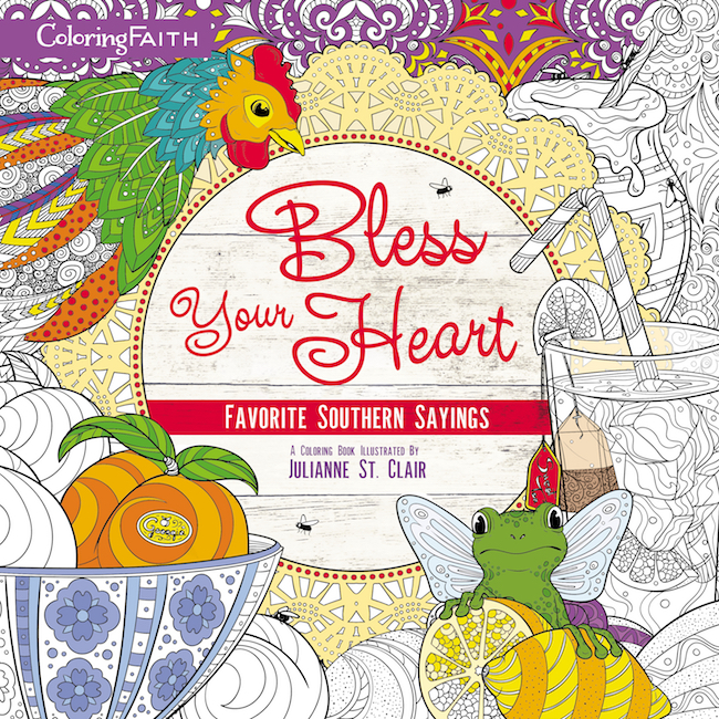 The cover of Bless Your Heart Adult Coloring Book.